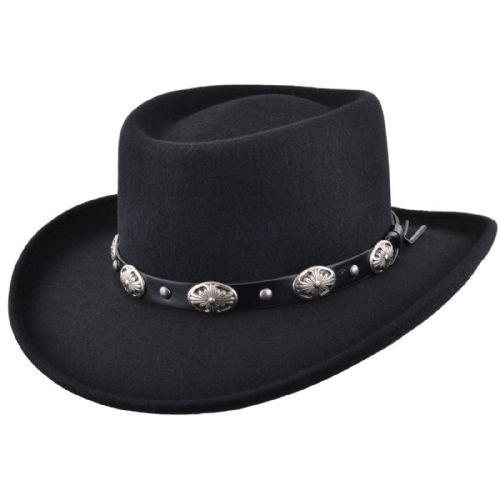 Gambler Cowboy Hat Black Wool Felt with Buckle Trim